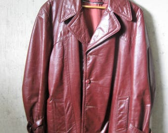 Vintage Leather Coat Mens Oxblood Single Breasted Buckles Detailed Stitching 1970s