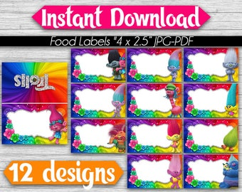 Food Tent Labels Trolls - Instant Download - Blank