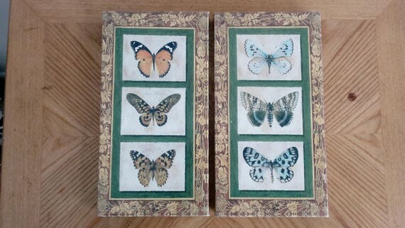 Pair of signed Fabrice de Villeneuve Canvas Print number 995 of 999 Butterflies