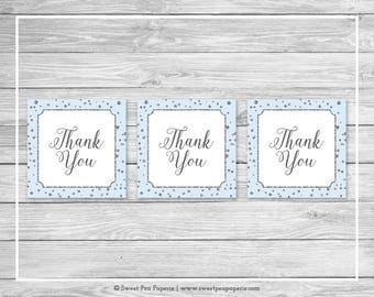 Blue and Silver Baby Shower Favor Thank You Tags - Printable Baby Shower Thank You Tags - Blue and Silver Baby Shower - Favor Tags - SP151