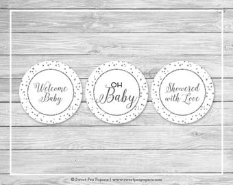 White and Silver Baby Shower Cupcake Toppers - Printable Baby Shower Cupcake Toppers - White Silver Baby Shower - Cupcake Toppers - SP154