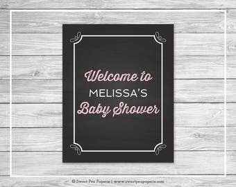 Chalkboard Baby Shower Welcome Sign - Printable Baby Shower Welcome Sign - Pink Chalkboard Baby Shower - Welcome Sign - EDITABLE - SP155