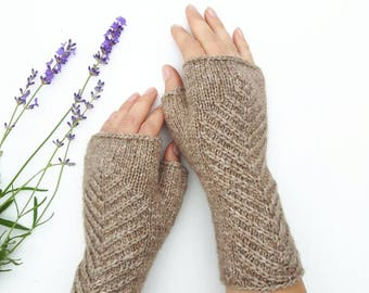 Beige fingerless gloves knit arm warmers knitted hand warmers wool mittens womens gloves