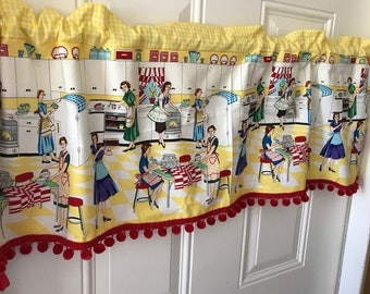 Retro Kitchen Scene Vintage Curtain Valance With Gingham And Pom Pom Border