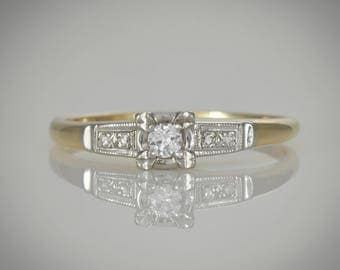 Art Deco c. 1930s Copley Engagement ring; Center diamond  plus accents,Yellow & White Gold, Box Setting,  Wedding, Promise, Stacking   LV101