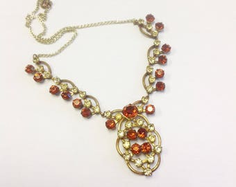 Vintage, rhinestone necklace, 1930s to 1940s. Art Deco paste necklace.