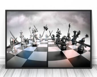 Chess art, Living room wall decor, creative modern poster, Office, Dorm print, Fine art creative photography, High quality
