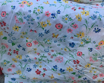 Bright Multi-Color Flowers and Butterflies Cotton Fabric Yardage