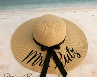 Personalized hat, Beach hat, Custom beach floppy hat, Straw hat, Gift for bride, Something blue, Bachelorette, Wedding gift, Gift for her