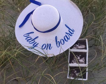 baby on board hat, Babymoon hat, Baby is brewing, Mommy hat, Mommy to be hat, Personalized straw hat, Floppy beach hat, Pregnancy reveal