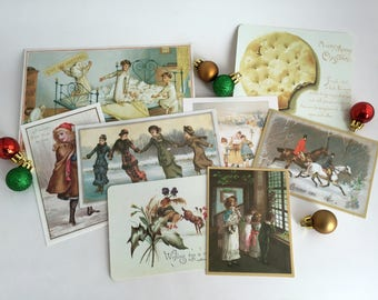 Lot of 8 Vintage Christmas and New Year's Postcards / Made in England UK