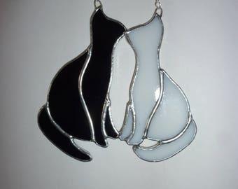 Stained glass pair cats,Cat suncatcher,Black cat & white cat.
