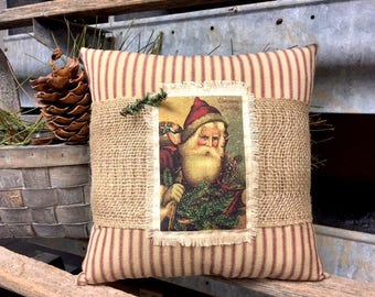 CHRISTMAS Vintage Style Santa Burlap Pillow - FATHER CHRISTMAS - Christmas Pillow