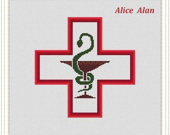 Cross Stitch Pattern Medical symbol Red Cross Silhouette Chalice with Snake Counted Cross Stitch Pattern/Instant Download Epattern PDF File