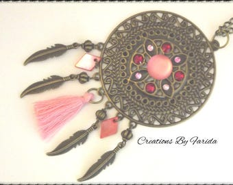 Necklace with bronze, pink Rhinestones, tassel and feather print