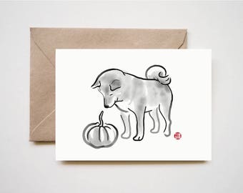My Shiba, My Pumpkin, Unique Sumi-e Painting Print Card, Animal illustration Japan B&W Asian zen theme Dog lover Cute Ink Drawing