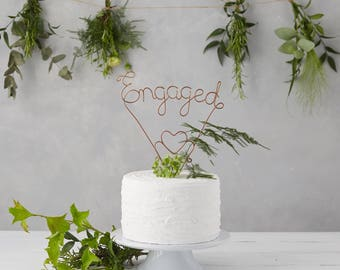 Engaged Cake Topper - Copper Cake Topper - Wire Cake Topper - Engaged Ornament - Golden Cake Topper - Engagement ornament - Cake Toppers UK