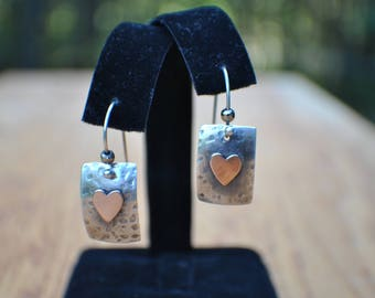 Sterling silver and 14kt gold filled dangle earrings, hand forged, hammered silver, patina, tiny gold heart 1.25 inches