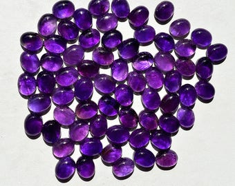 4 Pieces Natural Beautiful Purple Amethyst Gemstone Charming Oval Cabochon Calibrated Gemstone MM17