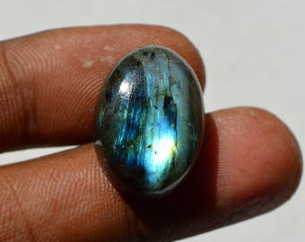 21.5 Cts Natural Blue Fire Labradorite Cabochon Both Side Polished Oval Shape Labradorite Loose Gemstone 21x15x8 MM R12477