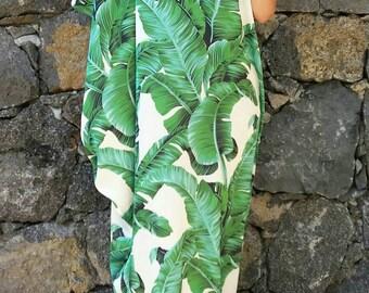 Banana leaf#satin#kaftan#dress#