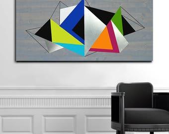 Geometric Wood Art, Abstract Metal Art Wall Decor, Metal Wood Wall Art, Modern Abstract Wall Art, Home Metal Wall Art