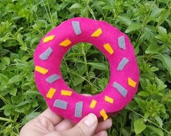 Pink Donut, Phone Holder, Handmade Donut, Pink Felt Donut, Pincushion Doughnut, Gift for Her, Homemade Donut, Fake Food