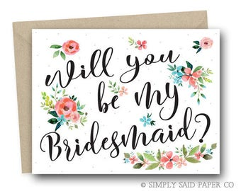 Floral Bridal Party Proposal Greeting Card - Bridal Party Cards, Maid of Honor Card, Bridesmaid Card, Flower Girl Card, Matron of Honor Card