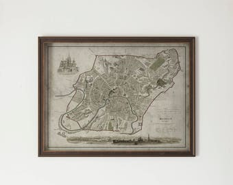 Moscow Map: Hardwood Distressed Black and Gold Frame - Vintage Map of Moscow, Russia - Circa 19th C.