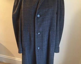 50off Vintage mens gray Grenadier wool full length coat