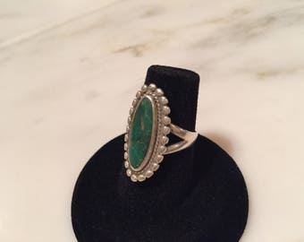Vintage sterling silver green turquoise ring size 7