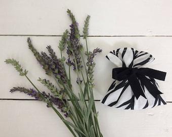 SALE - 100% Cotton Black & White French Lavender Bag - Handmade Lavender Sachet