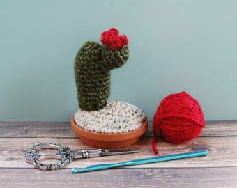 Tiny Cactus with Red Flower in Terra Cotta Dish - Crochet / Knit - Faux Cactus - Fake Plant