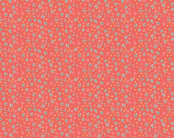 Blend Hill And Dale Forget Me Not Fabric - Coral (Priced by the half yard and cut continuously)