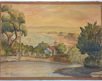 E Faulkner Signed 1963 Original English Vintage Watercolour Painting Crescent Hill Filey North Yorkshire Coast Seascape