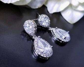Dantiy Silver Teardrop Earrings, Pave Halo Style, Crystal Wedding Earrings, Tear Drop Dangle, Pear Shaped Crystal, Bridemaids Earrings Gift