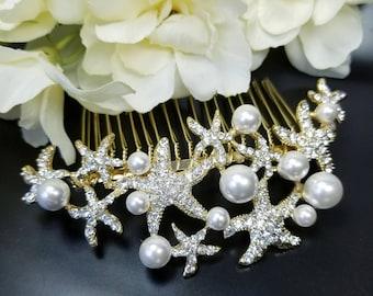 Gold Starfish Hair Comb, Beach Wedding Accessories, Mermaid Hair Headpieces, Gold Pearl Comb, Destination Wedding Jewelry