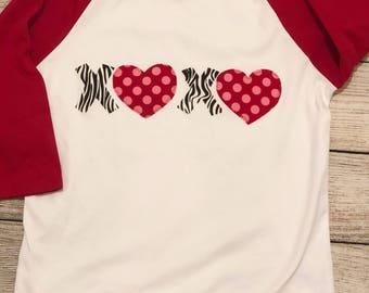 Valentines Day shirt, girls valentines shirt, xoxo raglan, valentines raglan