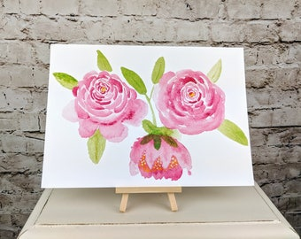 "Rose watercolour fine art Giclee print // A4 12"" x 8"" inches"