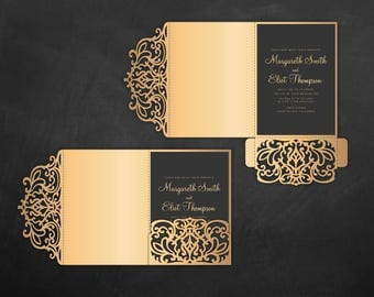 Tri Fold pocket envelope 5x7 Wedding Invitation DXF SVG EPS Template, pocketfold laser cut file, Silhouette Cameo & Cricut cutting machines