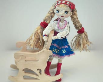 Ukrainian woman girl with two braids in an embroidered shirt and skirt Skeleton doll, handmade carcass doll, Wonderful souvenir from Ukraine