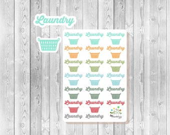 S134 - 37 Laundry Script & Basket Planner Stickers