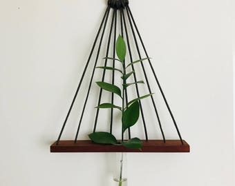 Geometric, wall vase, hanging plants, minimalist, wall hanging, reclaimed wood, hanging vase, wooden vase