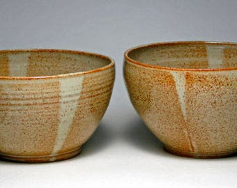 Wattlefield Pottery Bowls, set of two.  Handmade by Andrea Young, Stoneware, beige.