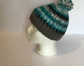 Handmade crocheted pom pom  beanie hat (multicolored blue and grey)