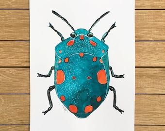 SALE, Blue Beetle, Original Watercolor Illustration, A5 size