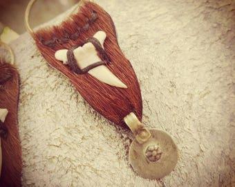 LEATHER tribal EARRINGS, wild, ethnic, boho