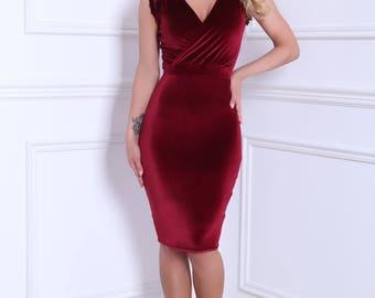 Burgundy Velvet Mini Bodycon  Dress Long Sleeves Wrap Neck