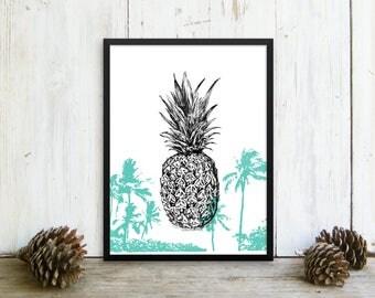 Pineapple print, Pineapple Framed Poster, Pineapple Poster, Pineapple Decor, Tropical Wall Art, Hipster Room Decor, Teen Room Decor