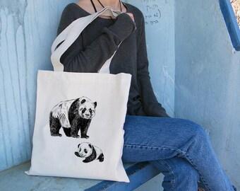Shoulder Tote Bag, Panda Tote Bag, Cotton Tote Bag, Panda Gift, Library Bag, Beach Bag, Tote Bag For Kids, Bag For Kids, Gift Under 25